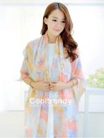ผ้าพันคอวินเทจ Pastel scarf สีชมพูม่วง - ผ้าพันคอ Viscose - size 180x110 cm