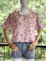 ส่ง:เสื้อคอกลมลายดอกแบบหวานๆน่ารักผ้าใส่สบาย/อก40