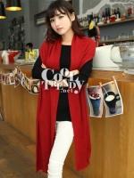 ผ้าพันคอไหมพรม ผ้า cashmere scarf size 180x30 cm - สี red wine
