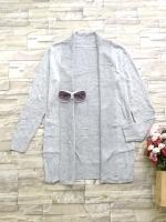 ส่ง:เสื้อคลุมคาร์ดิแกนknitทรงปล่อยตัวยาวมีเป๋า2ข้าง/อก40+/เทาอ่อน