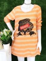 ขายส่ง:เดรสผ้าป่านลายริ้วแต่งพิมพ์แมวเก๋ๆทรงปล่อยใส่สบาย/อก38/ส้ม