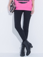 กางเกงลำลองขายาวไซส์ใหญ่ สีดำ ผ้าทึบลายลูกไม้ (L,XL,2XL,3XL,4XL)
