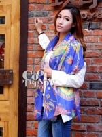ผ้าพันคอแฟชั่นลายเก๋ Chic Chic : ลาย Indian decor สีน้ำเงิน : ผ้าพันคอ Silk Chiffon - size160x70 cm