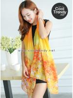 ผ้าพันคอลายทุ่งดอกไม้ Flower Garden : สีเหลือง ผ้า Viscose size 180x90 cm