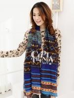 ผ้าพันคอลายชาวเขา Hmong Scarf Tribal Aztec : สีน้ำเงิน - ผ้า viscose - size 180x90 cm