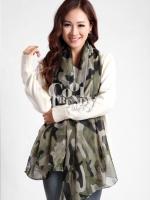 ผ้าพันคอลายทหาร Camo scarf : สี Green army - ผ้าพันคอ cotton - size 180*100 cm