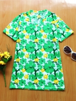 ขายส่ง:เสื้อยืดคอวีสดใสลายดอก/อก35/เขียว