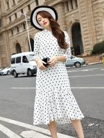 ชุดเดรสยาวผ้าชีฟองพิมพ์ลายไซส์ใหญ่สไตล์เกาหลี สีขาว (XL,2XL,3XL,4XL,5XL)