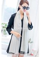 ผ้าพันคอ ผ้าคลุมพัชมีนา Pashmina scarf size 160 x 60 cm - สีเทา