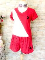 ขายส่ง:พร้อมส่งชุด2ชิ้นเก๋ๆ/เสื้อปักนก+กางเกงลายจุดปักนก/แดง