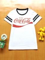 ขายส่ง:พร้อมส่งเสื้อยืดคอกลมเก๋แต่งสกีนโคคาโคล่า/อก35/ขาว
