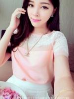 พร้อมส่งแฟชั่นเกาหลี:เสื้อหวานต่อผ้าแก้วซีทรูแต่งผ้าลูกไม้ขาว