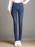 กางเกงยีนส์ยืดขายาวทรงดินสอ สีน้ำเงิน (XL,2XL,3XL,4XL,5XL)