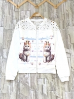 ส่ง:เสื้อคลุมแต่งพิมพ์แมวแบบน่ารักแต่งลูกไม้ถักช่วงบน/อก36