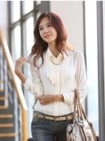 เสื้อเชิ้ตทำงานผู้หญิงแขนยาว สีขาว เรียบหรู ดูดี