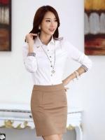 เสื้อเชิ้ตทำงานผู้หญิงแขนยาว สีขาว