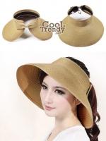 หมวกแฟชั่นเกาหลี หมวกกันแดดทรงปีกกว้าง : สีน้ำตาล Natural