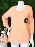 ขายส่ง:เสื้อผ้าป่านแต่งเป๋าสกีนยีราฟแบบน่ารักทรงใส่สบาย/อก38/ส้มอ่อน