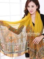 ผ้าพันคอลาย Morocco Style : สีเหลือง - ผ้า viscose 180x90 cm