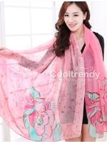 ผ้าพันคอลายดอกคาเนชั่น Carnation : สีชมพูเขียว ผ้า Viscose size 180x90 cm