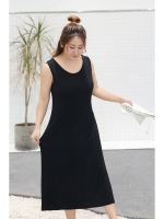 ชุดเดรสยาวแขนกุดสีดำ สวมใส่สบาย (XL,2XL,3XL,4XL)