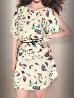 พร้อมส่งแฟชั่นเกาหลี:เดรสน่ารักสีลายนกสดใส ผ่าแวกปลายแขนทรงเอบานพริ้ว