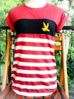 ขายส่ง:พร้อมส่งเสื้อยืดเก๋ๆลายทางติดอาร์มปักนก/อก34/แดง