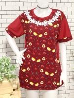 ส่ง:เสื้อยาวทรงใส่สบายลายดอกแต่งลูกไม้ถักช่วงคอ/อก40