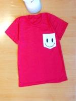 ขายส่ง:พร้อมส่งเสื้อยืดคอกลมเก๋ๆแต่งเป๋ายิ้ม/อก34/แดง