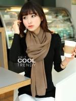 ผ้าพันคอไหมพรม ผ้า cashmere scarf size 180x30 cm - สี coffee