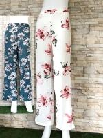 โปรขายครบสี2สี:กางเกงลายดอกขาตรงผ้าพริ้วทรงใส่พริ้ว/เอวยืด26-36