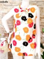 ขายส่ง:พร้อมส่งเสื้อยาวลายดอกสดใสคอผูกโบว์ทรงใส่สบาย/อก37/หลังส้ม