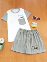 ขายส่ง:พร้อมส่งเชท2ชิ้นน่ารักแต่งเป๋าปักน้องแมว/เสื้อ+กางเกง/เทา