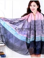 ผ้าพันคอลายเรอนาซองส์ Renaissance style : สีชมพู - ผ้า viscose 180x90 cm