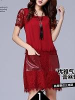 Pre:สินค้าจีนนำเข้า:เดรสลูกไม้ (มี2สี:ดำ,แดง)