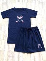ขายส่ง:เช็ท2ชิ้นแบบน่ารักแต่งปักกระต่ายแบบใส่สบาย/เสื้อ+กางเกง
