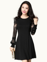 ชุดเดรสผ้าฝ้ายสีดำแขนลูกไม้ไซส์ใหญ่ (XL,2XL,3XL,4XL)