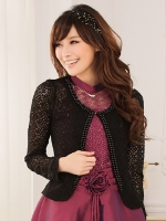 เสื้อคลุมผ้าลูกไม้แขนยาว ดำ/ขาว XL 2XL 3XL