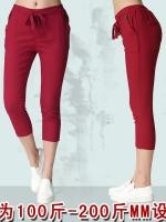 ++พร้อมส่ง++ กางเกงขาสี่ส่วน สีแดงเข้ม เอวยืด มีกระเป๋า (4XL)