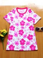 ขายส่ง:เสื้อยืดคอกลมสดใสลายดอก/อก33-34/ชมพู