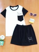 ขายส่ง:พร้อมส่งเชท2ชิ้นน่ารักแต่งเป๋าปักน้องแมว/เสื้อ+กางเกง/ดำ