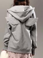 พร้อมส่งแฟชั่นเกาหลี:เสื้อกันหนาวหมวกเก๋ติดปีกหลัง