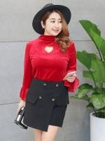 เสื้อยืดกำมะหยี่ สีแดง/สีดำ แขนยาว ปกตั้ง ช่วงอกเจาะรูปหัวใจ (XL,2XL,3XL,4XL)