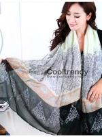 ผ้าพันคอลายเรอนาซองส์ Renaissance style : สีเขียว - ผ้า viscose 180x90 cm