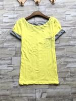 ส่ง:งานจีนเสื้อสีทูโทนแขนเทาพับเบิ้ลแต่งเป๋าอก/อก32-34