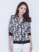 เสื้อแจ็คเก็ตไซส์ใหญ่ พิมพ์ลายดอกไม้ ติดซิปหน้า (XL,2XL,3XL,4XL,5XL)
