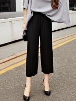 กางเกงชีฟองพลีทขาสามส่วน สีดำ (1XL,2XL)