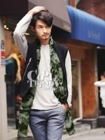 ผ้าพันคอผู้ชาย Man scarf ลายทหาร Camo scarf : สี Green army