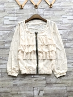 ส่ง:งานจีนเสื้อคลุมซิปหน้าแต่งระบายเป็นชั้นๆแบบน่ารัก/อก36