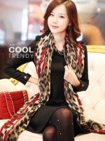 ผ้าพันคอลายเสือ ลายเสือ ลายหัวใจสีแดง - ผ้า cotton ขนาด 160x80 cm